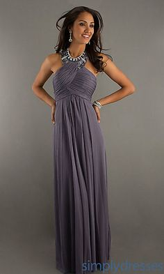 High Neck Halter Evening Gown by Morgan