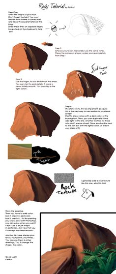 Tutorial - Rocks by *Katikut on deviantART (http://katikut.deviantart.com/art/Tutorial-Rocks-31752098?q=gallery:katikut/41103483&qo=3) ★ || CHARACTER DESIGN REFERENCES invites you to support the Artists and Studios featured here by buying this and other artworks in their official online stores • Find us on www.facebook.com/CharacterDesignReferences | www.pinterest.com/characterdesigh | www.youtube.com/user/CharacterDesignTV and learn more about #concept #art #animation #anime #comics || ★
