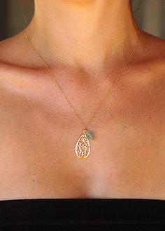 aquamarine & Indian filigree necklace