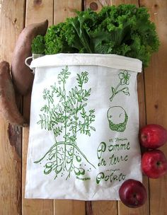 Set of 2 - Screen Printed Natural Cotton Reusable Produce Bags - Eco Friendly - Botanical Potato Illustration Textiles, Textile Prints, Vegetable Crisps, Potato Print, Produce Bags, Reusable Bags, Vintage Embroidery, Things That Bounce, Screen Printing