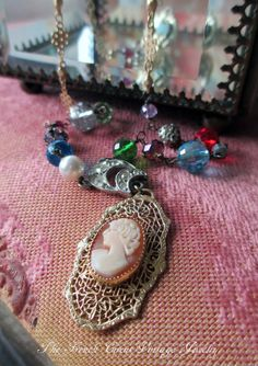 CANDY GIRL vintage assemblage necklace with by Art Deco cameo by The French Circus, $118.00