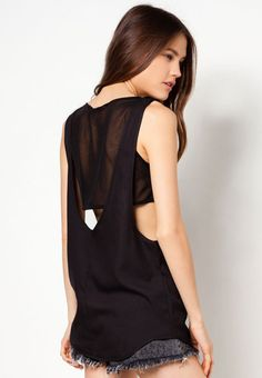 Mesh Tank Top by Something Borrowed. Stylish mesh tank top, made from polyester with black color, round neck, sleeveless, inner mesh crop top, relaxed fit, super hype tank top with mesh detail that look super stylish, perfect for music festival outfit. http://zocko.it/LE1ei