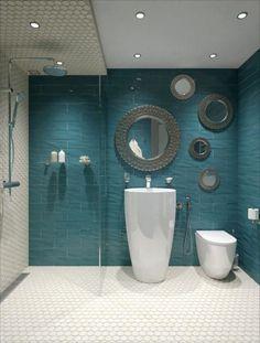 Ванная в  цветах:   Белый, Светло-серый, Серый, Синий, Черный.  Ванная в  стиле:   Минимализм.