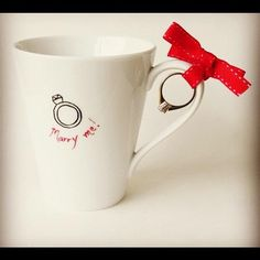 How to make your wedding proposal in an original way. This would be so cute in the morning when I get my coffee!