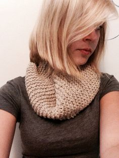 Raw Wool Cowl Knitted Infinity Scarf by ZacsStore on Etsy