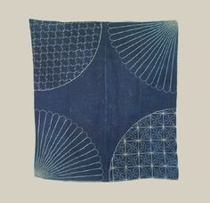 "Japanese Furoshiki - Late Meiji (1880-1911). A furoshiki carrying cloth made up of 4 medium-weight cotton strips stitched together. Each corner has interesting sashiko stitching that both adorns and strenthens this utilitarian textile.  49"" x 52"".  Yorke Antique Textiles"
