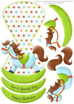 """Baby Blue Rocking Horse Wobble Card on Craftsuprint designed by Julene Harris - Beautiful rocking horse wobble card with decoupage elements. Included labels: """"For A Special Boy"""", """"Happy Birthday"""", and one blank label (rocker) that you can customize for any occasion. - Now available for download!"""