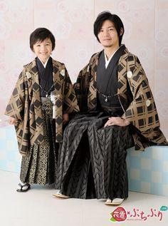 Man and boy in traditional formal kimono/hakama/haori set. (Patterned haori and…