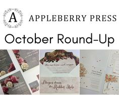 Wedding invitation round-up from October by Appleberry Press Unique Wedding Invitations, Wedding Stationery, Invitation Design, Rsvp, October, Range, Cookers, Wedding Invitations, Wedding Invitation