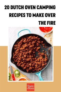 20 Dutch Oven Camping Recipes to Make Over the Fire Best Camping Meals, Camping Recipes, Dutch Oven Camping, Outdoor Cooking, Food To Make, Fire, Easy, Camping Menu, Outdoor Kitchens