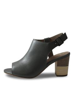 A great trans-seasonal heel the Galler heel features a peep toe as well inner side panel cutout with adjustable buckle. With a funky patterned heel prepare to make heads turn!    Heel height: 8cm   Medium Grey Heel by Elk. Shoes - Booties - Heeled Canada