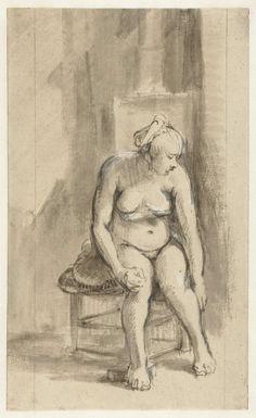 Zittend vrouwelijk naakt voor een kachel, Rembrandt Harmensz. van Rijn, 1661 - 1662