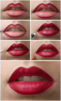 9 Everyday Makeup Tutorials for Every Girl: Lips outlined with thick lip liner and filled with red lipstick, concealer to line outer lips Everyday Makeup Tutorials, Makeup Tips For Beginners, How To Apply Lipstick, How To Apply Makeup, Applying Lipstick, Applying Makeup, Perfect Red Lips, Perfect Lipstick, Perfect Dark