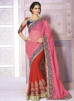 Pink Wedding Wear Indian Saree  Visit: http://www.indiansareestore.com/sarees/party-wear-sarees