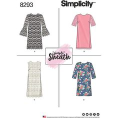 Simplicity Women's Simple Sheath Dress Sewing Pattern, 8293 at John Lewis