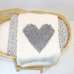Baby Blanket Heart Cream and Grey, Baby Blanket Knitted for Bassinet, Baby Shower, New Baby, Stroller Blanket by YarningMade on Etsy https://www.etsy.com/listing/128013452/baby-blanket-heart-cream-and-grey-baby