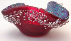 Dichroic Fused Glass  Candle Holder Poppy Red by Mtbaldyglassworks, $45.00