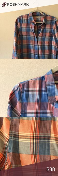 Madewell Boyshirt Pink and Blue Plaid Super soft cotton Button down by Madewell Perfect condition just dry cleaned :) pretty l light reddish pink and blue plaid pattern Madewell Tops Button Down Shirts