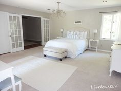 LiveLoveDIY: How to Decorate a Bedroom: Neverending Changes. Behring Wheat Bread on the walls. Cool beige with gray undertone Bedroom Carpet, Living Room Carpet, Home Bedroom, Master Bedroom, Bedroom Decor, Bedroom Ideas, Master Bath, Bedrooms, Exterior Paint Colors