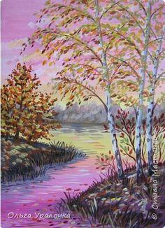 Картина панно рисунок Мастер-класс Рисование и живопись Пейзаж Осеннее утро Гуашь фото 1