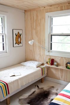 interesting to use plywood on wall ceiling (trim). love the Hudson Bay Blankets. Plywood Interior, Plywood Walls, Osb Plywood, Hudson Bay Blanket, House Ideas, Up House, Kid Spaces, Kids Bedroom, Kids Rooms