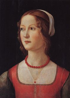 Domenico Ghirlandaio (Florence, 1448/49–1494) and workshop. Portrait of a girl wearing a coral necklace - late 15th century - circa 1490 - tempera on panel - in Lisbon, Museu Calouste Gulbenkian; Portugal.