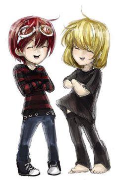 Tags: Death Note/ mattxmello/ Chibi Matt and Mello. Art by razuri chan