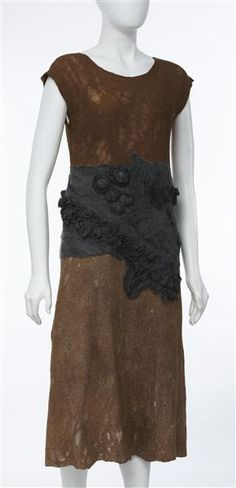Nuno-felted (silk and wool) dress, plant dyed