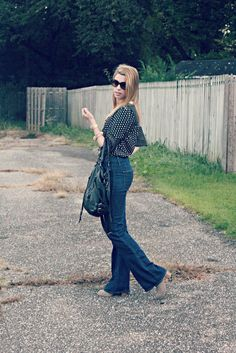 Pixels and Pumps - polka dots & high waisted bell bottoms #style #fashion #blog