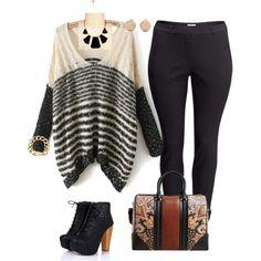 Heels, Oversized sweater,Bag