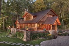 077 Small Log Cabin Homes Ideas Small Log Cabin, Log Cabin Homes, Small Log Homes, Lake Cabins, Cabins And Cottages, Mountain Cabins, Casas Country, Log Home Decorating, Rustic Home Design