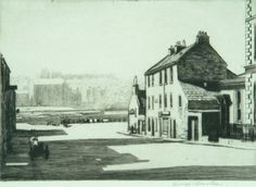Drypoint of Burns' House, Dumfries by George Houston - Burns Scotland