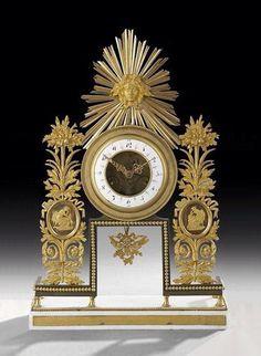"A very fine 19th century Empire style dore bronze and marble clock - Dim: 18"" high."