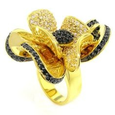 Superb Flower Cocktail Ring w/Black and White CZs GP