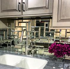 mirror tile, mirrored backsplash, kitchen