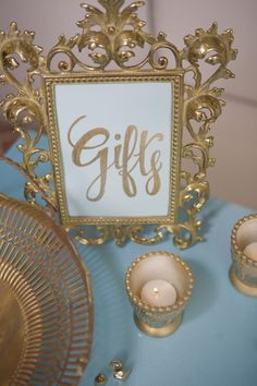 Gold gift sign. Handwritten. Gifts table. | Lovelyfest Event Design | Royal Blue Baby Shower
