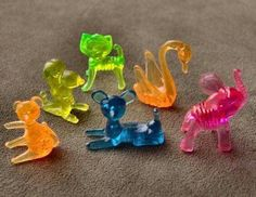 Plastic trinkets - used to collect them and decorate Barbie's Dream House with them.