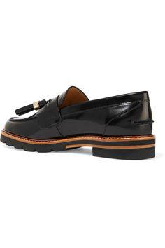 Stuart Weitzman - Manila Glossed-leather Loafers - Black - IT41.5