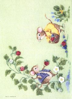 Cute little mice collecting strawberries. Embroidery Hoop Crafts, Silk Ribbon Embroidery, Crewel Embroidery, Cross Stitch Embroidery, Embroidery Patterns, Machine Embroidery, Thread Painting, Fabric Painting, Embroidered Baby Blankets