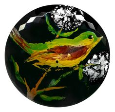 Image Copyright RC Larner ~ Button--Large 19th C. Faceted Black Glass & Hand-painted Song Bird ~ R C Larner Buttons at eBay & Etsy        http://stores.ebay.com/RC-LARNER-BUTTONS