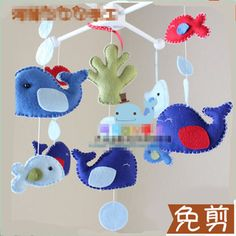 Baby Rattle Handmade  Non-woven Felt No Cut  Material package Baby plush  fish Ocean style Hanging Musical Baby toy 0-12 Months