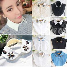 Women's Fashion Choker Necklace Lace Detachable Lapel Shirt Fake False Collars | eBay