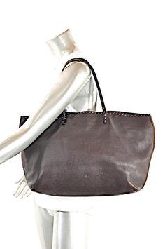 746f7977d5f4 FENDI Selleria Dark Brown Pebble Leather Tote Handbag Whipstitching 17