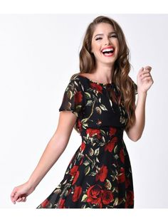 Unique Vintage 1940s Style Black & Red Rose Formosa Swing Dress