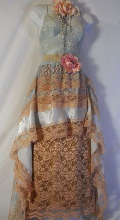 GORGEOUS!!  Blue lace dress tea stained boho  wedding tiered rose romantic small  medium by vintage opulence on Etsy. $ 150.00, via Etsy.