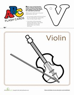 V is for violin! Color in the letter V and its matching flashcard featuring a picture of a violin and use them to practice memorizing the ABC's. Preschool Games, Preschool Worksheets, Literacy Activities, Printable Worksheets, Service Learning, Learning Resources, Teaching Tools, Kids Learning, Alphabet Charts