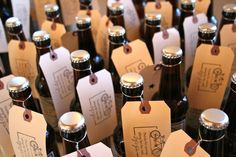 Beer bottle wedding favors. If you love a craft beer like I do, try to find great beer from a local brewer and make your own labels.
