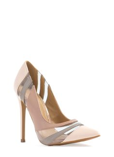 Clearly Faux Patent Striped Heels