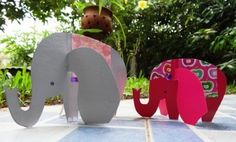 Paper elephants via Crafts for cids. Used in Spring 2014 K Clubhouse for BIG animal theme. Vbs Crafts, Camping Crafts, Paper Crafts, Cardboard Crafts, Elephant Crafts, Elephant Art, Projects For Kids, Crafts For Kids, Craft Projects