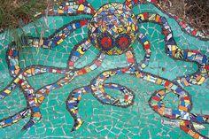 """Mosaic couch in Tasmania-in Boat Harbour, Tasmania, Australia"" - made by mosaic artist Cynthia Turner, in 1993"